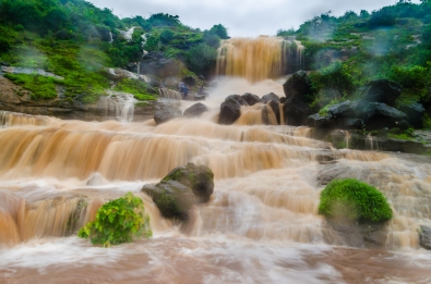 Waterfall flooded after heavy rains